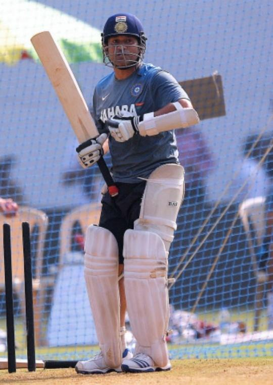 Sachin Tendulkar practicing