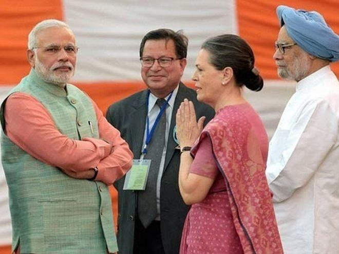 Narendra Modi with Sonia Gandhi and Manmohan Singh