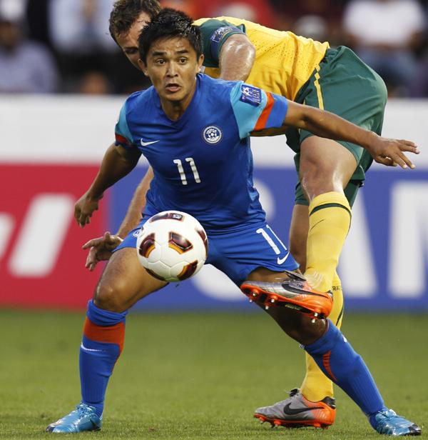 File: Chhetri playing against Australia