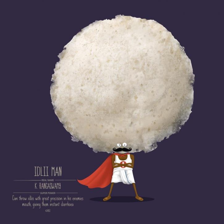 Food Superheroes Idli Man