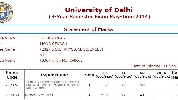 Delhi university marksheet