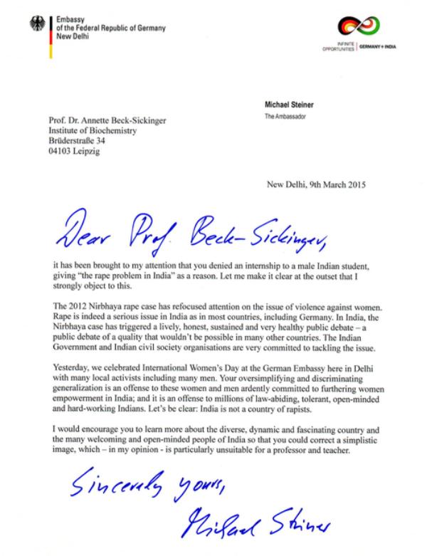 german ambassador letter
