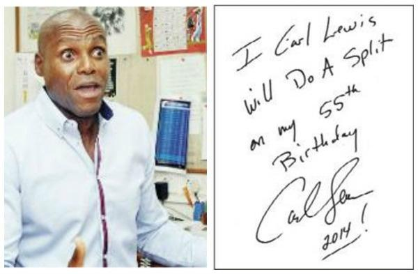 Carl Lewis signs
