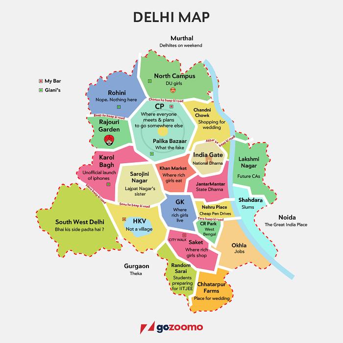 Delhi Map Image This Map Of Delhi Describes Delhiites So Correctly, It Might Just