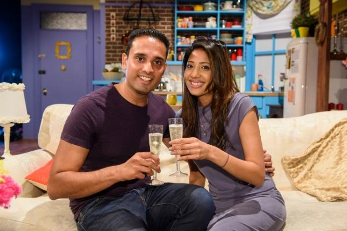 Couple engaged on FRIENDS set