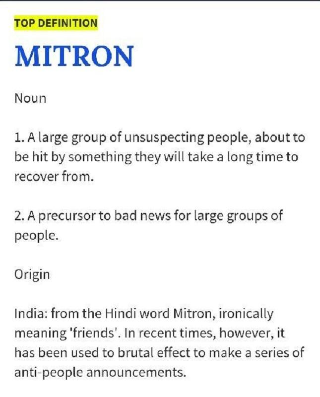 Modis Mitron Has Made It To Urban Dictionary And The Internet Is