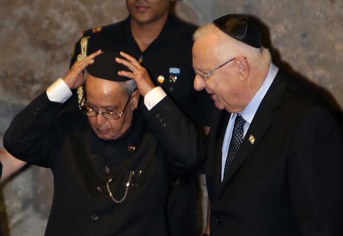 Israeli President Reuven Rivlin With Pranab Mukherjee
