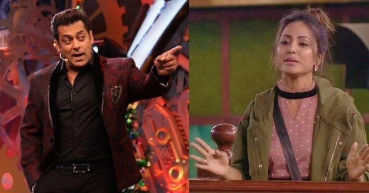 A still of Salman Khan and Hina Khan from Bigg Boss 11.