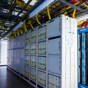 The undersea telecommunication cable finally being connected to server racks to manage Internet traffic