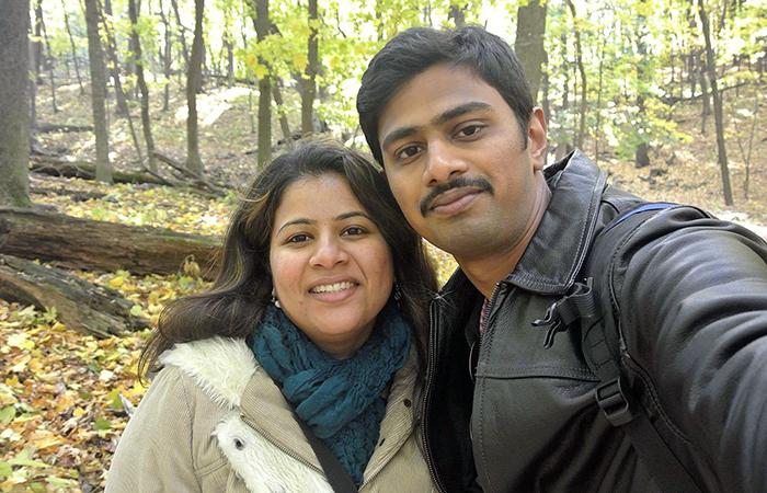 Srinivas Kuchibhotla with his wife Sunayana