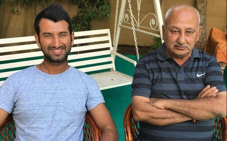 Image result for cheteshwar pujara and his father