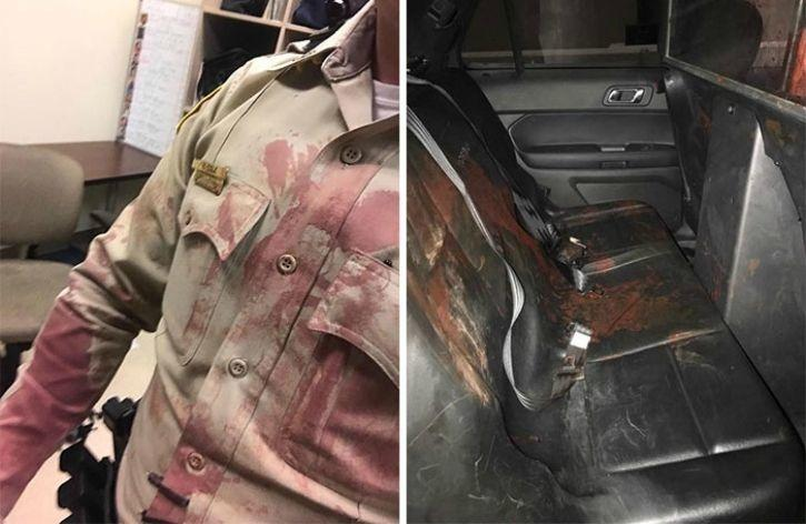 Officer Richard Cole was one of first amongst several others responding to the brutal massacre. His cousin shared images of the backseat of his car and his uniform after he had helped several wounded victims, including a woman with a gunshot wound to her head.
