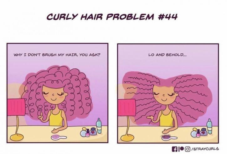 This 25-year-old illustrator, Angela Mary Vaz (straycurls on Instagram), from Bangalore, India, sketches a series of illustration that brilliantly depict the nuisances of living with curly hair everyday.