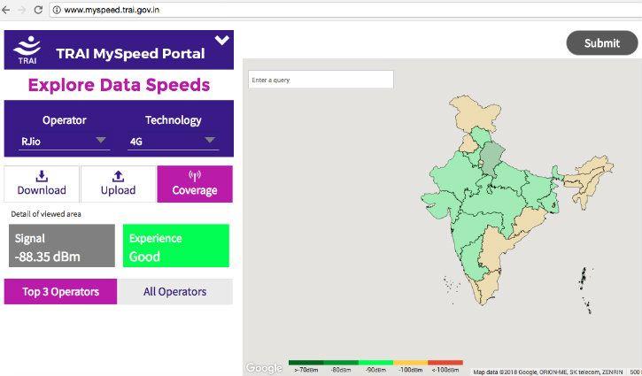 Reliance Jio network coverage on TRAI MySpeed Portal