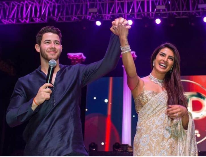 Priyanka Chopra and Nick Jonas at their Sangeet ceremony.
