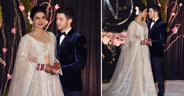 Priyanka Chopra and Nick Jonas at their wedding reception in Delhi.