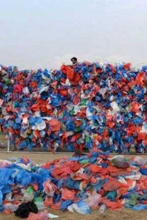 To Raise Awareness About Pollution In Oceans Young Nepalis Create Dead Sea Of Plastic Bags