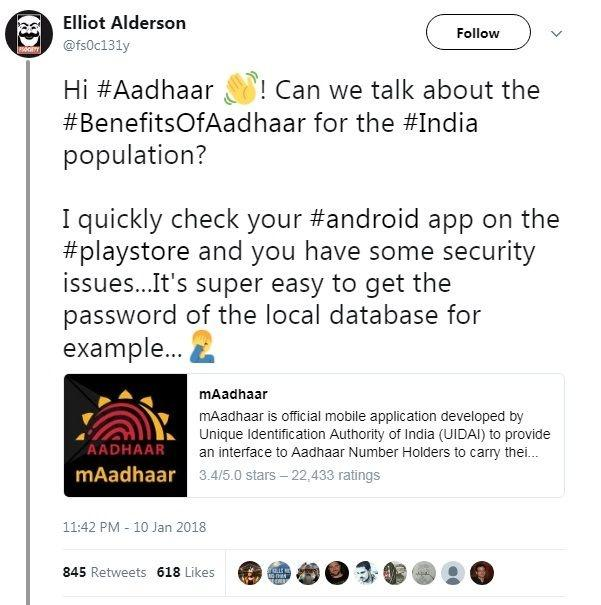 An Online Researcher Hacked Into Aadhaar's Official Android