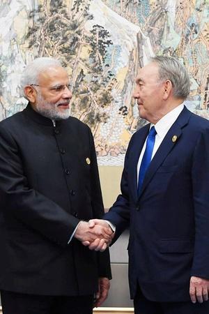 Prime Minister Narendra Modi and Kazakhstans President Nursultan Nazarbayev