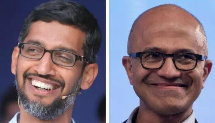 Google CEO Sundar Pichai and Microsoft CEO Satya Nadella