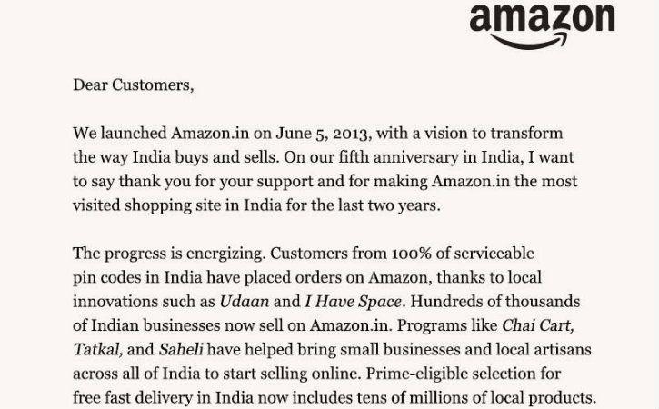 On Amazon India's 5th Anniversary, Jeff Bezos Thanks Users For