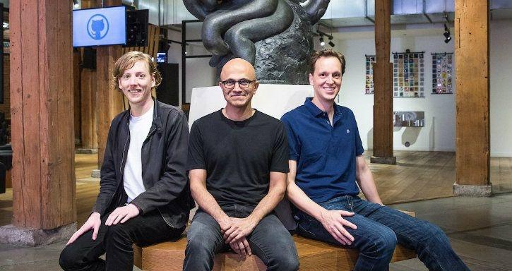 Microsoft CEO with GitHub CEO and Co-Founder