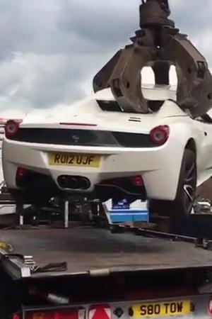 Ferrari 458 Spider crushed