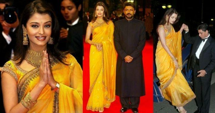 A picture of Aishwarya Rai Bachchan wearing a mustard saree from Cannes Film Festival 2002.