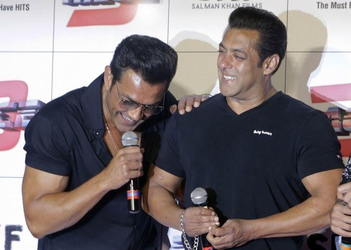 A picture of Salman Khan and Bobby Deol from Race 3 trailer launch event.