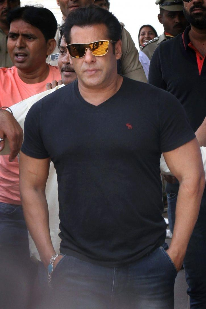 A picture of Salman Khan from Race 3 trailer launch.