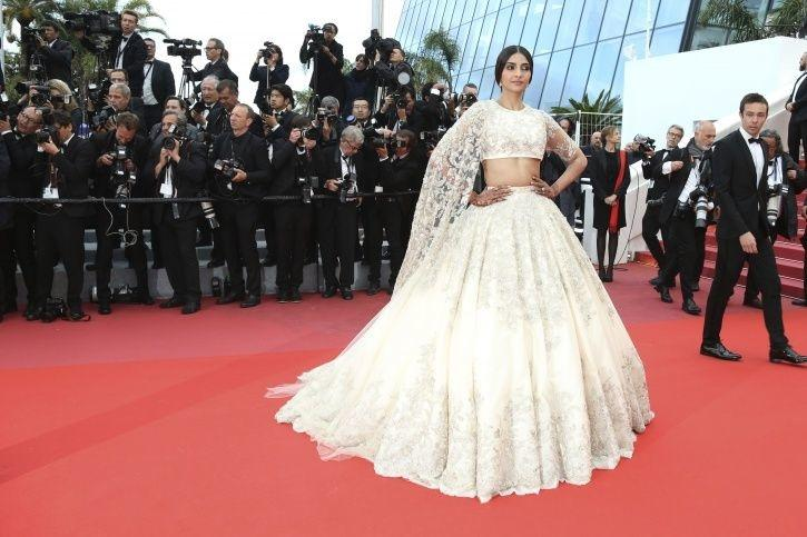 A picture of Sonam Kapoor wearing a Ralph and Russo lehenga at Cannes Film Festival 2018.