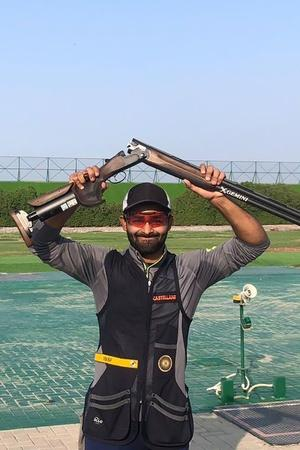 Angad Vir Singh Bajwa As He Shoots Historic Skeet Gold At Asian Shotgun Championship