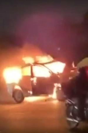Burning Car Turns Into A Fireball