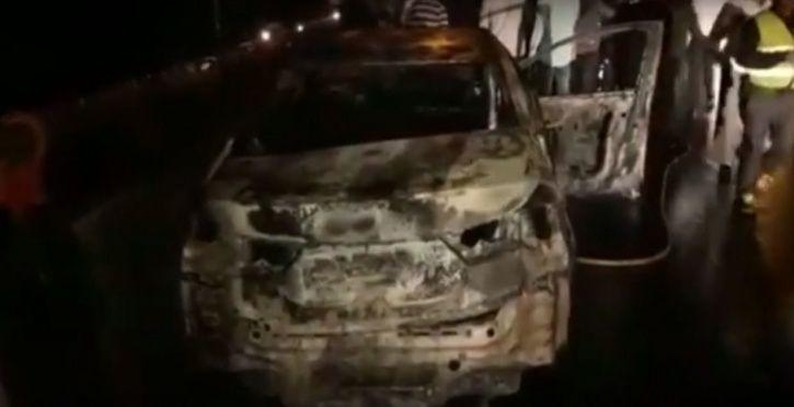Burning Car Turns Into A Fireball