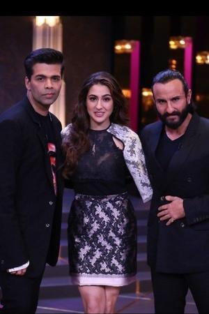 Karan Johar poses with Saif Ali Khan and Sara Ali Khan on Koffee With Karan