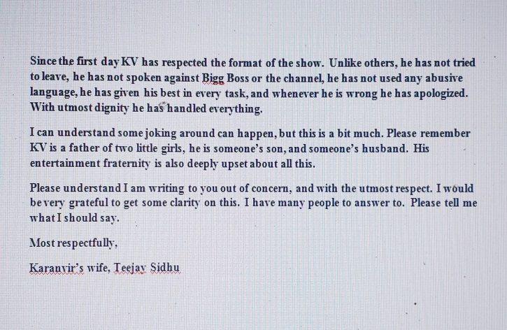 Karanvir's Wife Teejay Writes An Open Letter To Bigg Boss