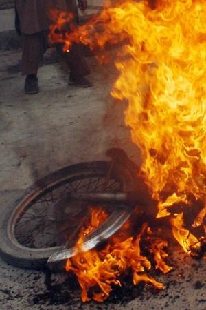 Man Sets Own Bike On Fire In Gurugram