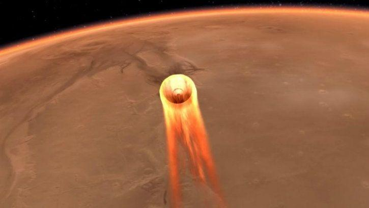 nasa mars insight lander entry into martian atmosphere