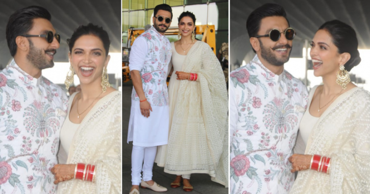 Ranveer Singh and Deepika Padukone pose at Mumbai airport heading to Bengaluru for wedding reception