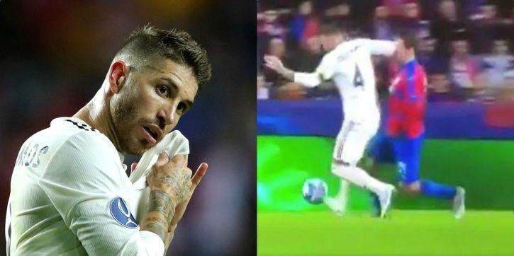 Sergio Ramos elbowed Milan Havel in the face