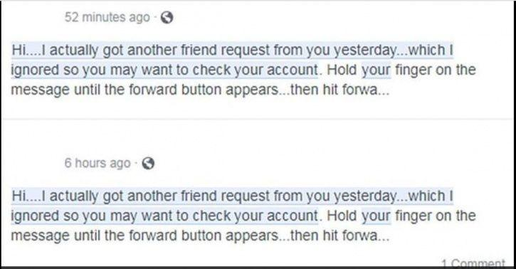 Facebook, clone, users, accounts, chain message, hoax, security breach, hackers