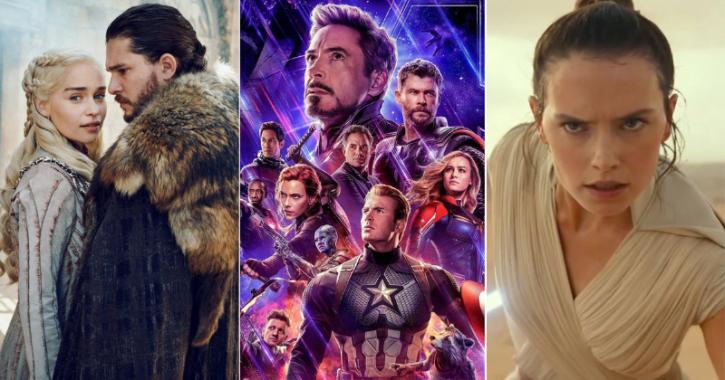 Game Of Thrones season 8, Avengers: Endgame and Star Wars: The Rise Of Skywalker.