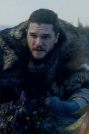 Kit Harington AKA Jon Snow riding a dragon in Game Of Thrones season 8 episode one