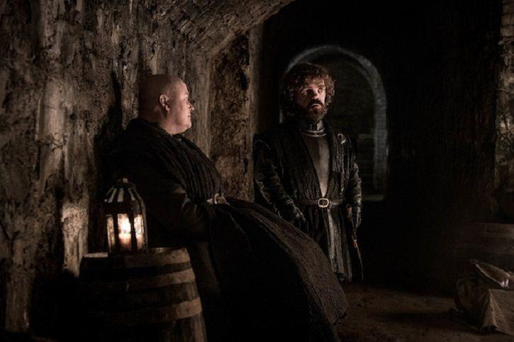 Lord Varys and Tyrion Lannister at the battle of winterfell in Game of Thrones season 8 episode 3.