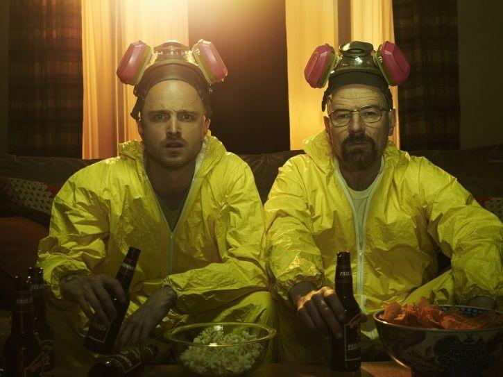 Aaron Paul aka Jessi Pinkman and Bryan Cranston as Walter White in Breaking Bad movie.