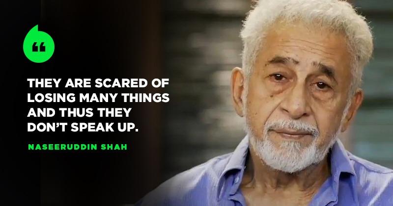 After #ShameOnBollywood Trends, Naseeruddin Shah Says Actors Are Sacred To Speak On Politics