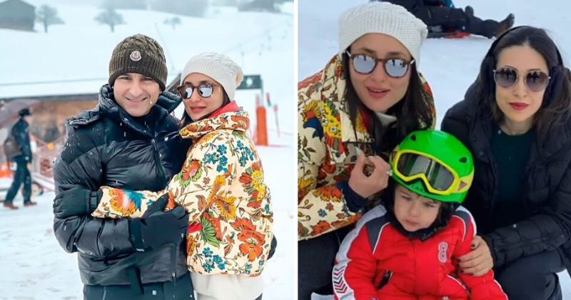 Saif & Kareena Are Enjoying Their Winter Break In The Snow & Their Photos Are Making Us Envious