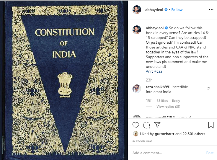 Abhay Deol Has Some Interesting Questions About NRC & CAA & He Is Seeking Answers From Everyone