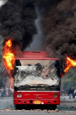 Burning Bus In Delhi Protest