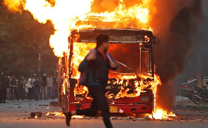 Burning Bus In Delhi